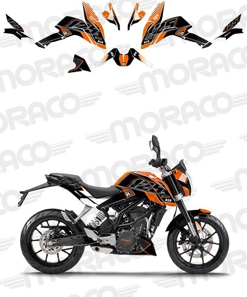 Kit Deco UP MAXIMIZE KTM DUKE 125 11->13 noir-oran