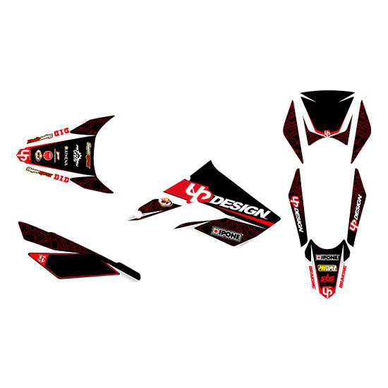 Kit Deco UP DRAFT DERBI DRD XTREME 11->16 noir-rou
