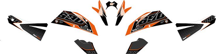 Kit Deco UP MAXIMIZE KTM DUKE 690 08->11 noir-orange