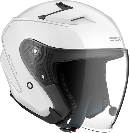 *Casque OUTSTAR Taille M Bluetooth Blanc Brillant open face